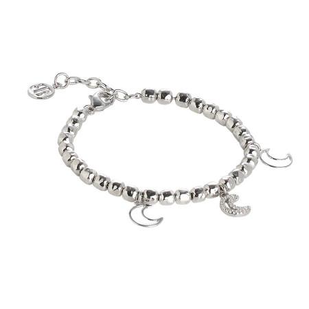Bracciale beads con charms a luna e zirconi