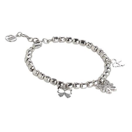 Bracciale beads con charms a fiocco e zirconi