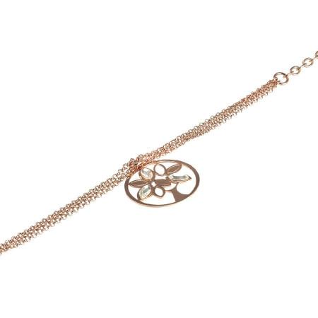 Bracciale rosato quattro fili con albero della vita pendente e cristalli Swarovski