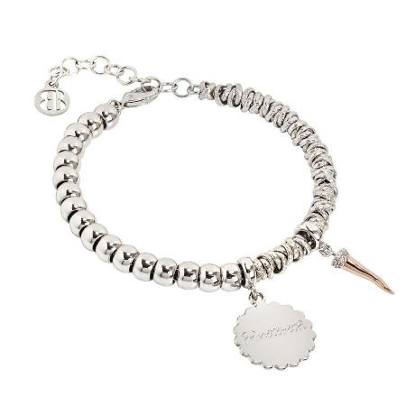 """Bracciale beads con medaglietta """"Positività"""" e cornetto portafortuna  zirconato"""