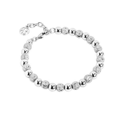 Bracciale rodiato con perle lisce e diamantate