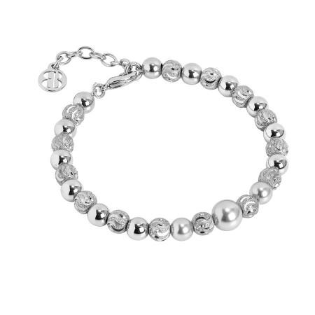Bracciale con perla centrale Swarovski light grey