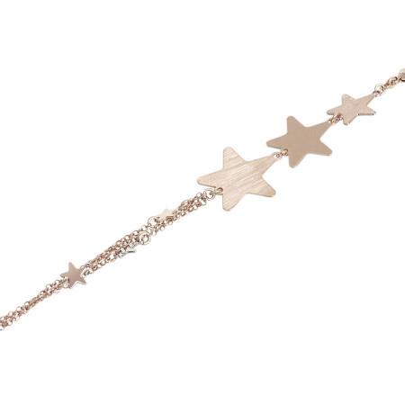 Bracciale doppio filo rosato con stelle