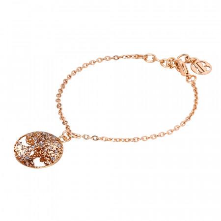 Bracciale rosato con albero della vita in glitter silver