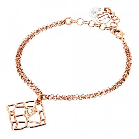 Bracciale doppio filo rosato con pendente dalla trama a rete e Swarovski