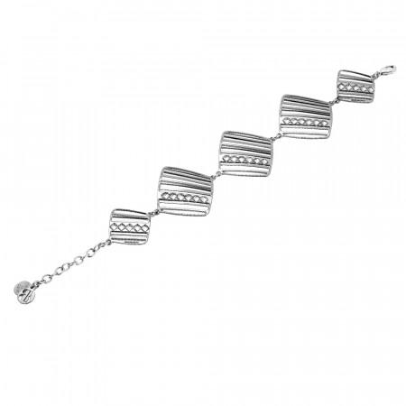 Bracciale modulare rodiato con rombi di cristalli Swarovski