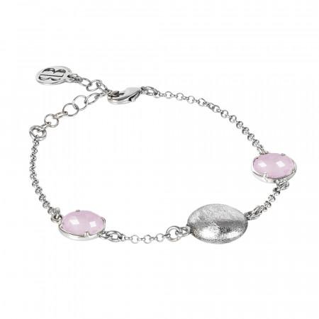 Bracciale rodiato con cristalli color quarzo rosa milk ed elemento effetto graffiato