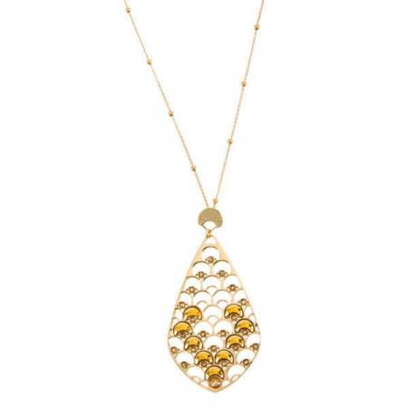 Collana lunga placcata oro giallo con decorazione a squame e cristalli