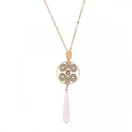 Collana lunga placcata oro rosa con nodo tibetano e cristallo a goccia rosa