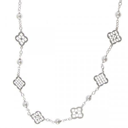 Collana lunga con perle Swarovski e motivi decorativi a croce