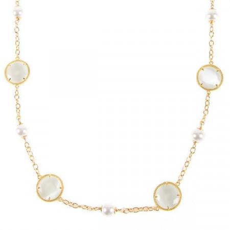 Collana con elementi decorativi circolari e perle Swarovski bianche