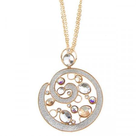 Collana con pendente circolare e mosaico di cristalli dalle sfumature dorate