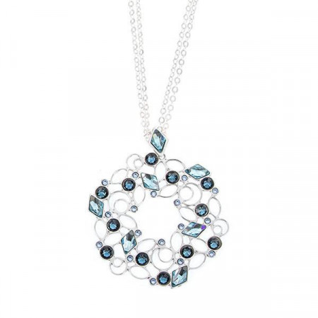 Collana con mosaico floreale di Swarovski dalle sfumature blu