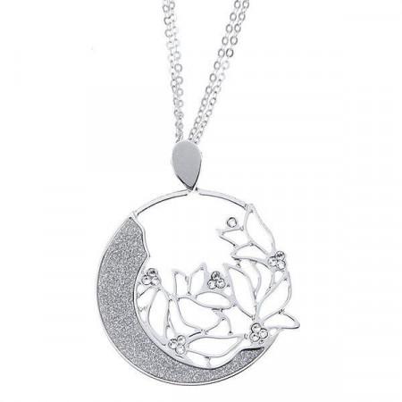 Collana con pendente fioriluna circolare e cristalli Swarovski