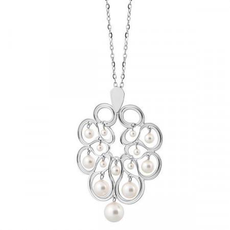 Collana con pendente decorato a nastro e perle Swarovski