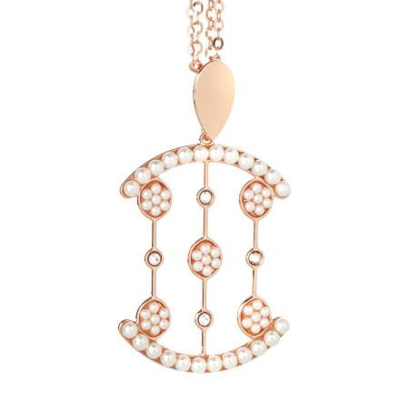 Collana rosata doppio filo con cascata di cristalli Swarovski