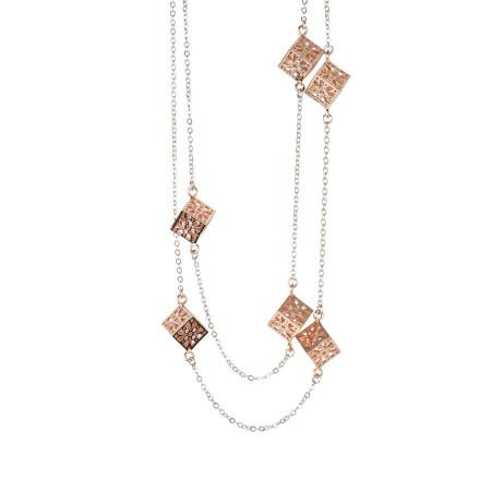 Collana doppio filo con cubetti rosati e zirconi