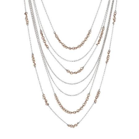 Collana multifilo con inserti bicolor diamantati