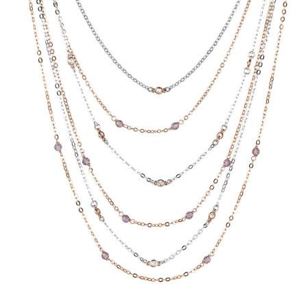 Collana bicolor multifilo con zirconi e cristalli Swarovski