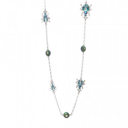 Collana lunga con scarabei e perle Swarovski