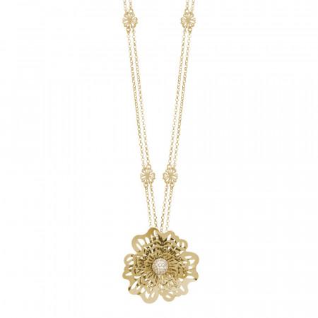 Collana doppio filo dorata con rosa selvatica tridimensionale pendente e zirconi