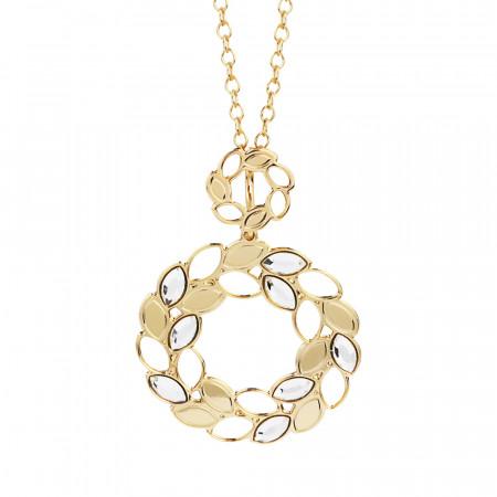 Collana dorata con decoro a spiga di grano e Swarovski crystal