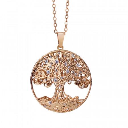 Collana rosata con pendente circolare e albero della vita in glitter silver