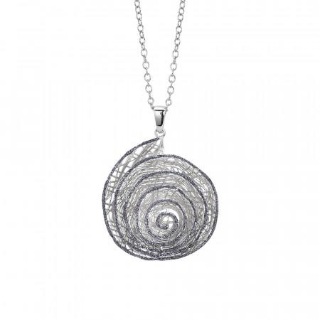 Collana rodiata con pendente a spirale in glitter nero