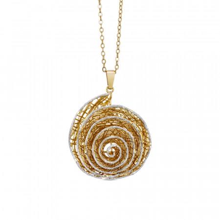 Collana dorata con pendente a spirale in glitter silver