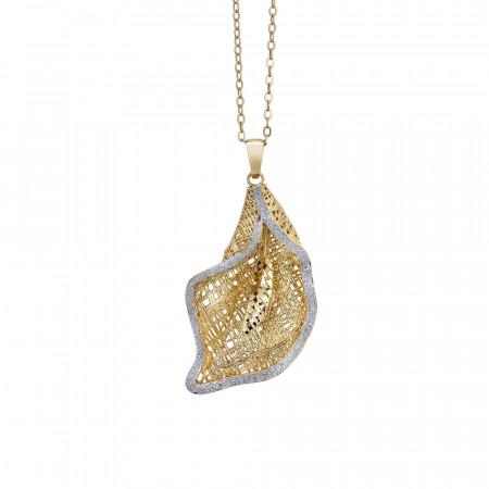 Collana dorata con calla pendente in glitter silver