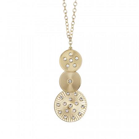 Collana dorata con pendente modulare e Swarovski