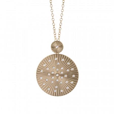 Collana dorata con pendente circolare a raggi e Swarovski