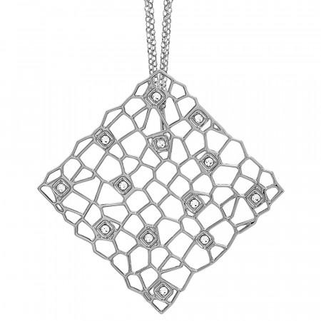 Collana doppio filo rodiata con pendente dalla trama a rete e Swarovski