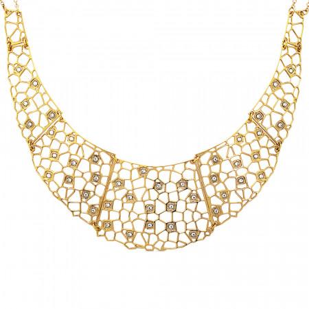Collana dorata semirigida con trama a rete e Swarovski