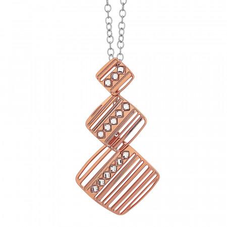 Collana rosata con pendente modulare decorato da Swarovski