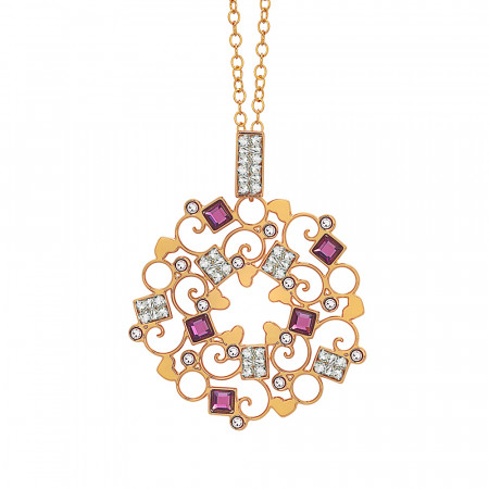 Collana rosata con rosone in Swarovski crysral rock crystal