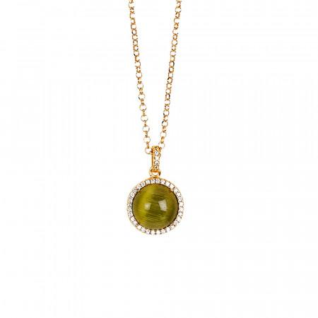 Collana lunga con cabochon verde olivina gatteggiante e zirconi