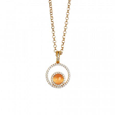 Collana con pendente di zirconi e cabochon arancione gatteggiante