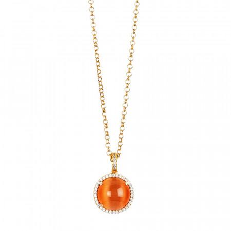 Collana lunga con pendente cabochon arancione gatteggiante su base di zirconi