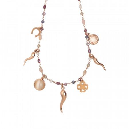 """Collana rosario con cristalli multicolor sfumature del rosso e charms tema """"fortuna"""""""