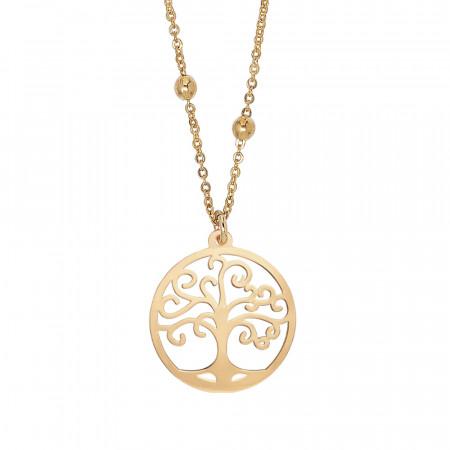 Collana dorata con ciondolo albero della vita