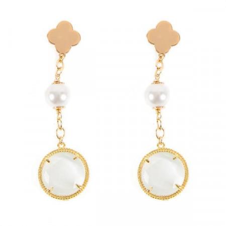 Orecchini con perle Swarovski bianche ed elementi decorativi circolari