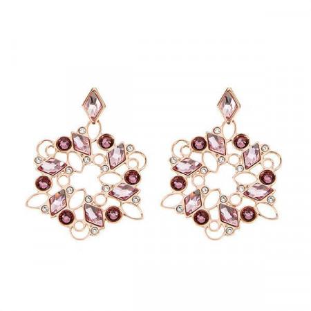 Orecchini pendenti con mosaico floreale di Swarovski dalle sfumature rosa