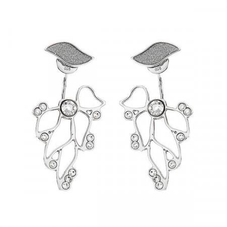 Orecchini asimmetrici con decoro fioriluna e cristalli Swarovski