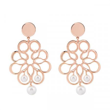 Orecchini rosati con decoro a nastro e perle Swarovski