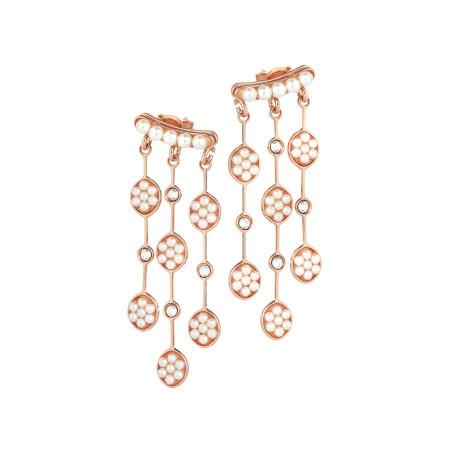 Orecchini rosati intercambiabili con perle e cristalli Swarovski