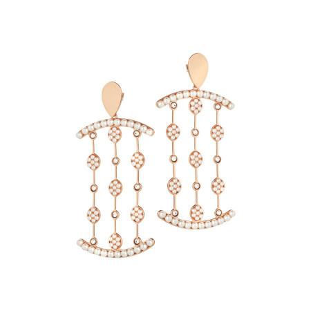 Orecchini pendenti rosati con perle e cristalli Swarovski