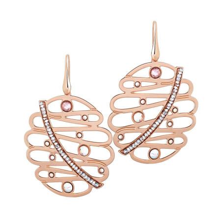 Orecchini rosati con pendente e crystal rock