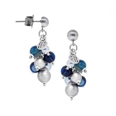 Orecchini con perle Swarovski light blue, agata mix blue e sfere graffiate