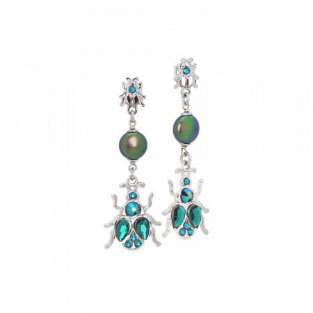 Orecchini pendenti con scarabeo e perle Swarovski